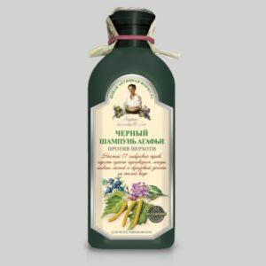 Черный шампунь Агафьи против перхоти для всех типов волос (темная бутылка) Новая активная формула