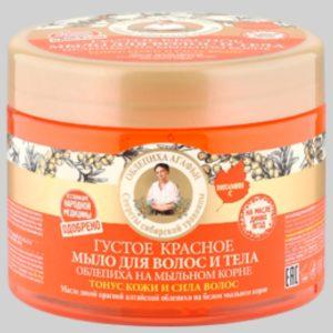 Густое красное мыло для волос и тела облепиха на мыльном корне Тонус кожи и сила волос Рецепты бабушки Агафьи на 5 соках