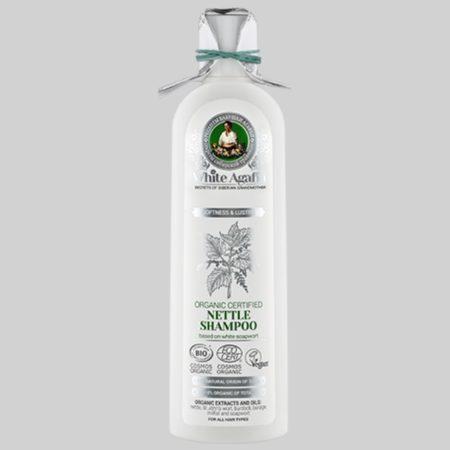 Шампунь органический крапивный для волос «Мягкость и сияние» White Agafia