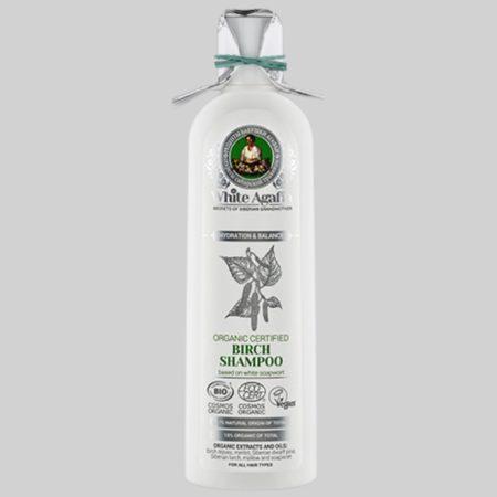 Шампунь органический березовый для волос «Увлажнение и баланс» White Agafia