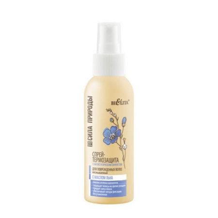 Сила природы Спрей термозащита с маслом льна для поврежденных волос с антистическим эффектом 100мл.